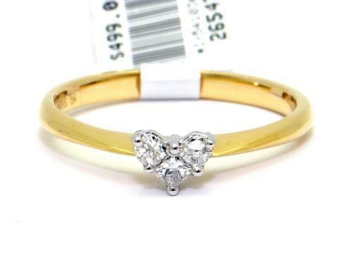 14kt Diamond Heart Ring Yellow Gold Ebay