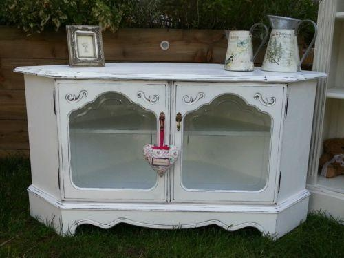 shabby chic corner tv stand ebay. Black Bedroom Furniture Sets. Home Design Ideas