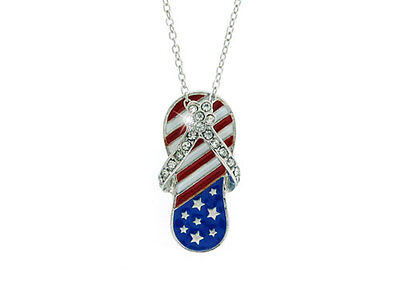 AMERICAN FLAG Patriotic Red White Blue Clear Crystal Flip Flop Sandal Necklace](Patriotic Jewelry)