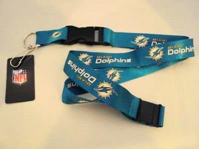 Miami Dolphins Football Team NFL Teal Lanyard Key Ring Keychain w/ Safety Clip