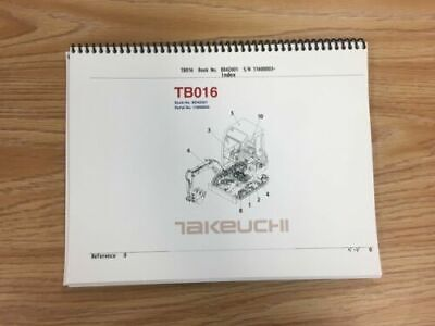 Takeuchi Tb016 Parts Manual Sn 11600003 And Up Free Priority Shipping