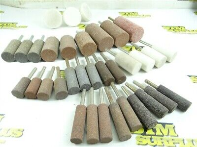 "34 NEW! ABRASIVE MOUNTED POINTS- ASSORTED CYLINDER SHAPES 1/4"" SHANKS"