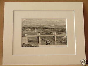 MENAI BRIDGE STRAITS ANTIQUE DOUBLE MOUNTED ENGRAVING FROM c1890 PUBLICATION