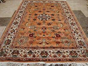 Awesome Floral Medallion Rectangle Area Rug Hand Knotted Wool Silk Carpet (4 x 6)'