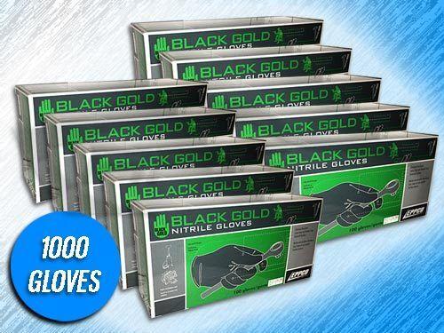 1000 BLACK GOLD BLACK NITRILE 4 MIL INDUSTRIAL GLOVES - (CHOOSE SIZE)