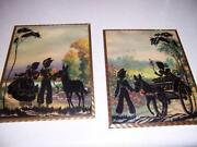 Vintage Reverse Painted Silhouette