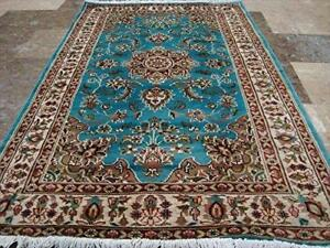 Exclusive Sea Ferozi Blue Beauty Floral Oriental Rug Hand Knotted Wool Silk Carpet (5 X 3)'