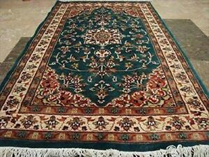 Floral Ivory Touch Medallion Rectangle Area Rug Hand Knotted Wool Silk Carpet (5 x 3)'