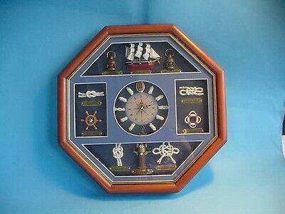 Knotentafel mit Uhr 8eckig Schiff und Knoten ca. 42x42cm maritime Deko