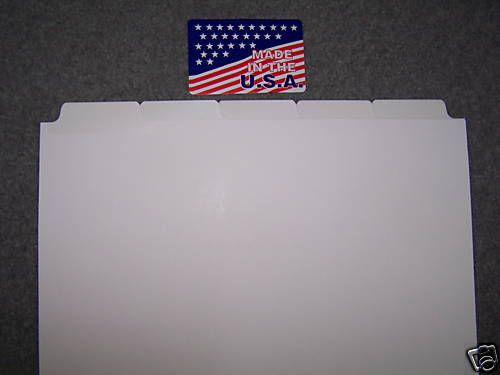 1250 YELLOW LAMINATED Blank Copy Tabs 250 of 5th cut, regular collated