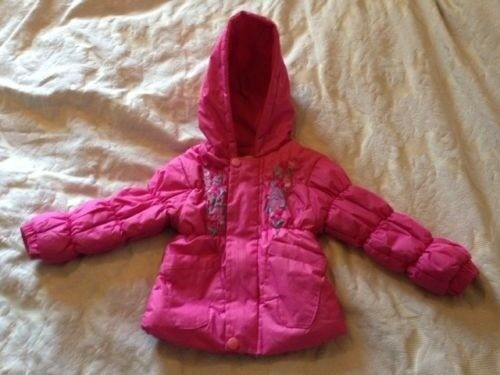 Baby Girls Padded Hooded Coat - 6-12 months - Pink