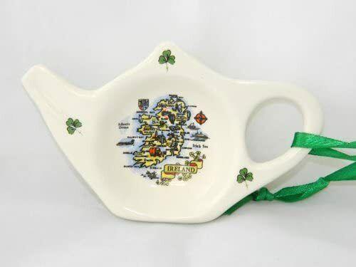 Irish White Porcelain Tea Bag Holder Map Design Perfect as Irish Souvenir