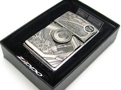 Zippo Full Size Street Chrome Harley Davidson Windproof Lighter w/ Emblem 29266