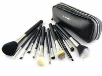 12 Brush Set - MAC - Make up Brush kit Pro Quality - FREE Leather Wallet - BARKING LOCAL
