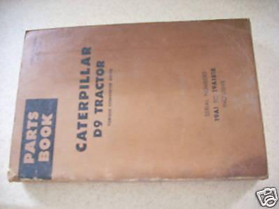 Caterpillar Cat D9 Bulldozer Tractor Parts Book Manual