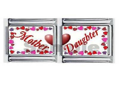 (MOTHER & DAUGHTER Set 9MM ITALIAN PHOTO DOUBLE CHARM LINK mom family love heart)