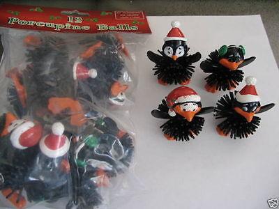 Penguin Party Favors (12 Black CHRISTMAS PENGUIN PORCUPINE BALLS 1 Dozen Party Favors)