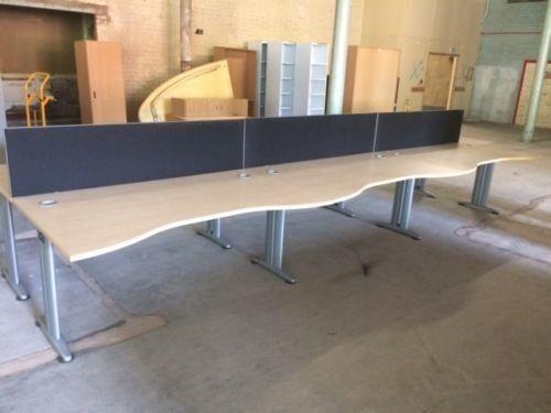 Call Centre Style Six Beech Wave Front Desks