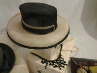 Black and cream Ascot Hat with Necklace in stock ORDER NOW!