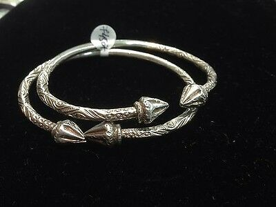 Pair Of Pine Head Handmade West Indian Sterling Silver Bangles