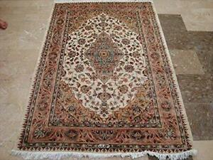 Awesome Sarafiann Floral Medallion Area Rug Hand Knotted Wool Silk Carpet (6 x 4)'