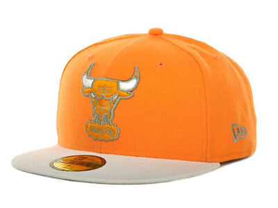 Chicago Bulls NBA Basic Orange New Era 5950 Fitted Flat Brim Hat Cap Windy City - Windy City