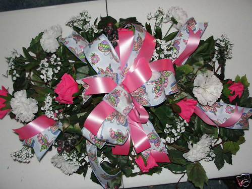 Pink Roses White Carnations Cemetery Memorial Flowers Custom Colors Welcome