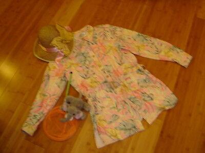 Safari costume womens 12  jacket pink tropical jacket butterfly net hat - Safari Woman Costume