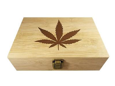 "Marijuana Leaf Decorative Bamboo Wood Storage Cigar Stash Box 8.5"" x 6"" x 2.5"""