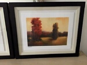 SIGNED CAROLINE ASHTON PAIR FRAMED PRINTS 23 X 20