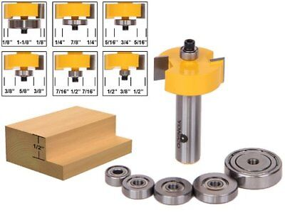 Yonico 14705 Rabbet Router Bit with 6 Bearings Set 1/2-Inch Shank Shank Rabbeting Bit