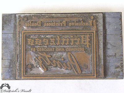 Vintage Printzess Copper Letterpress Advertising Printing Plate