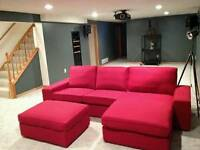 Ikea corner sofa with footstool / sofa bed. Easy change colour