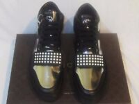 Gucci Black & Gray Leather Hi Top Fashion Sneakers Shoes Limited Edition
