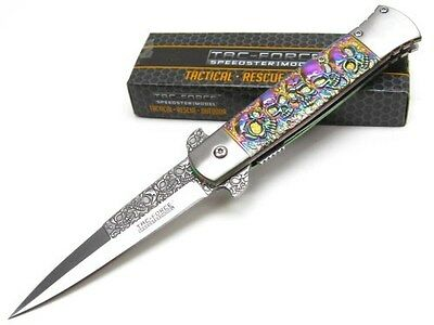 TAC-FORCE Rainbow SKULL Assisted Folding STILETTO Pocket Knife New! TF-865RB