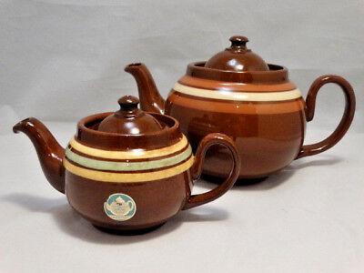 Antique Hand Painted Graduated Pair of English Ridgeway Red Ware Tea Pots