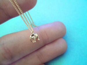 Tiniest, Cute, Baby, Elephant, Gold, Plated, Necklace