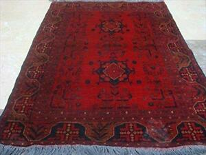 Excellent Afgan Khal Muhamadi Rectangle Area Rug Hand Knotted Wool Carpet (4.10 x 3.4)'