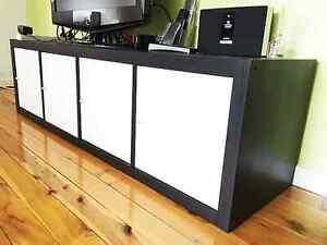 ikea Expedit Kallax 1x4 4 Cubes Bookcase + 4 Door Cupboard Insert North Rocks The Hills District Preview
