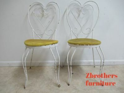 Pair Vintage Iron Sweet Heart Outdoor Patio Porch Dining Side Chair - Sweetheart Chair