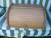 Wooden Bread Bin Kitchen Storage Box Loaf Vintage Curved Holder