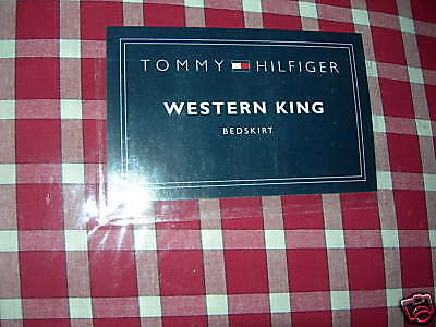 California King Plaid Bedskirt - NEW TOMMY HILFIGER KARIN RED PLAID CALIFORNIA KING  BED SKIRT