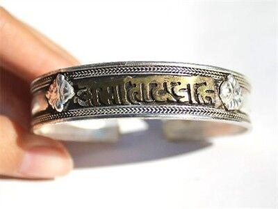 Big Tibetan Carved Golden Mantra OM Mani Padme Hum Dorje Amulet Cuff Bracelet