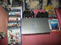 Sony Original Playstation 2 Silver Console With PS2 Bundle, Games, Controllers