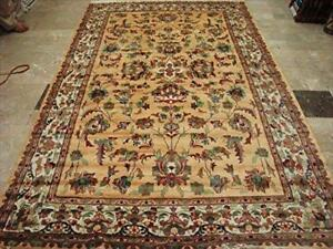 Rectangle Area Rug Cream Love Floral Hand Knotted Silk Wool Carpet (10 x 6)'