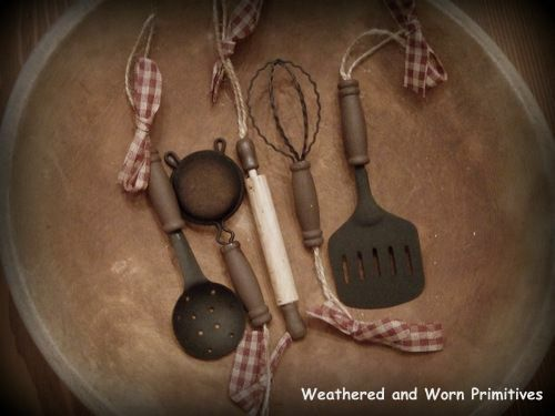 """Primitive Country 4"""" Kitchen Utensil Christmas Tree Ornaments - Set of 5"""