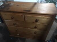 Vintage Pine Chest of Drawers LARGE ~ Handmade Cupboard Cabinet Retro Antique