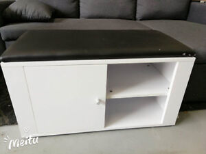 Entryway Bench with PU Seat and Storage Shelf Cabinet