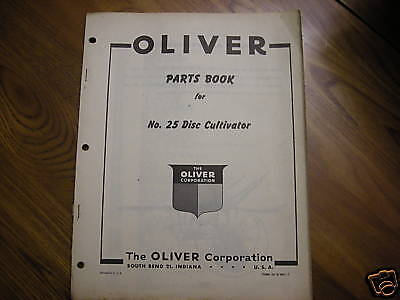 Oliver Tractor 25 Disc Cultivator Dealers Part Book