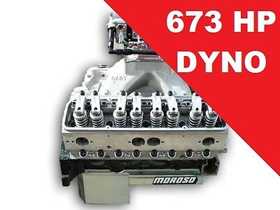 409 C.I. SMALL BLOCK CHEVY RACE GAS COMPLETE MOTOR PAN TO CARB 673 HP DYNO VIDEO